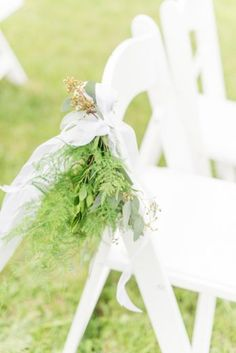 greenery aisle flowers, chair posy ceremony, ceremony aisle flowers, green chair flowers from rustic chic green and white wedding at Raspberry Plain Manor