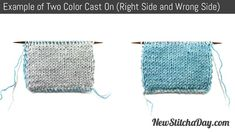 Example of the Two color Cast On for Double Knitting Right Side and Wrong Side