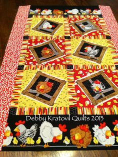 Debby Kratovil Quilts tabl quilt, sew ins, hen hous, chicken craft, quilt lover, kratovil quilt, juli sew, chicken kitchen, chicken quilt
