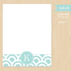 Personalized Note Pad // Teal and White Circle Pattern by k8inked