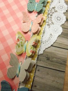 row of stitched butterflies