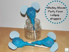Thrifty Homemade Mickey Mouse Lollipop Wrappers --- perfect for party favors! Thrifty DIY Mickey Mouse Lollipop Wrappers - perfect for party favors! #Disneyside  http://mamato5blessings.com/2014/02/mickey-mouse-party-favor-lollipop-wrappers-disneyside/  I still think these look like elephants...