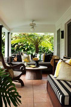 black + white striped cushions, touches of yellow