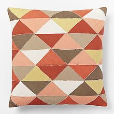 28b846ea41f7 Appliqued Diamonds Pillow Cover - Bright Coral  westelm Coral Pillows