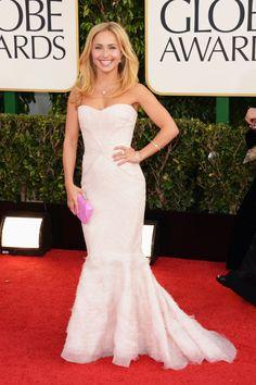 Celebrities en la alfombra roja de la 70 edición de los Globos de Oro: Hayden Panettiere de Roberto Cavalli