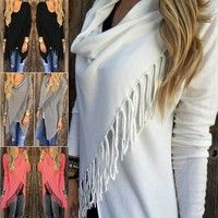 Wish | Womens Sexy Celeb Tassel Fringe Hem Irregular Baggy Hoode Batwing Shawl Coat Knitted Cardigan Loose Sweater