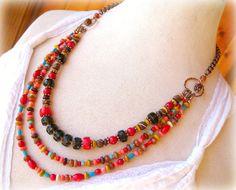 Southwest Jewelry, Multi Strand Gemstone Statement Necklace, Smokey Quartz, Red Coral, Turquoise, Pink Coral, Western Jewelry