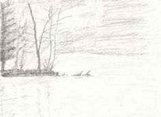 Jezioro by kajtek21.deviantart.com on @DeviantArt Drawing Sketches, Drawings, Pencil, Snow, Landscape, Outdoor, Outdoors, Scenery, Sketches