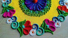 Rangoli Designs Simple Diwali, Simple Rangoli Border Designs, Rangoli Designs Latest, Rangoli Borders, Rangoli Patterns, Free Hand Rangoli Design, Rangoli Ideas, Colorful Rangoli Designs, Beautiful Rangoli Designs