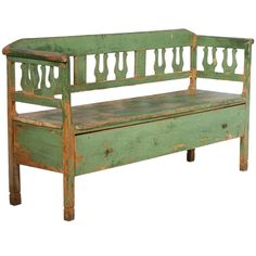 Antique Original Green Bench With Drawer, Romania circa 1880 Primitive Furniture, Country Furniture, Antique Furniture, Painted Furniture, Furniture Styles, Sofa Furniture, Garden Furniture, Furniture Sets, Kitchen Furniture