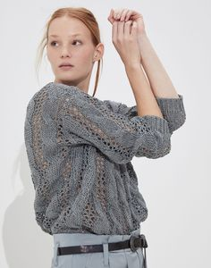 V-neck Sweater - Woman Knitwear Chunky Knitwear, Silk Material, Knitwear Fashion, Brunello Cucinelli, Pullover, Winter Fashion Outfits, Sweaters For Women, V Neck, Cotton