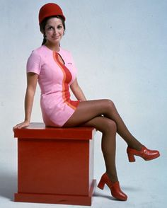 A Pacific Southwest Airlines flight attendant in 1973.