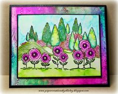Paper Creations by Shirley: Vibrant Doodle Landscape, stamps by Chocolate Baroque