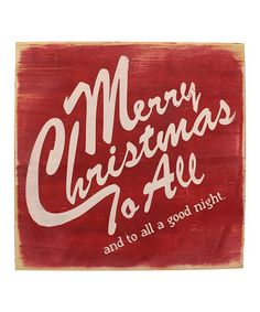 Red & White 'Merry Christmas to All' Wood Sign