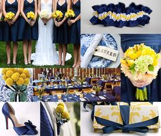 Yellow flowers with navy and white dresses.... Also love the garter belt