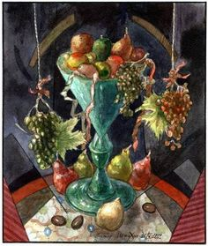 """Victor Shmokhin """"Зелёная ваза с фруктами""""  Бумага/акварель  19,1х16,2  1992.г.  (№914)"""
