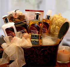 Caramel & Crème Bliss Spa Gift Basket   gift baskets,chocolates,birthday,holidays,mothersday