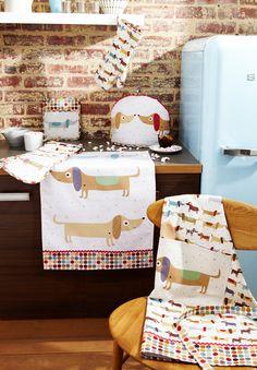 Dish Tea Towel Dachshund Hot Dog Design by mountainlodge on Etsy