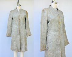Vintage Leather Trench Coat - Leather Coat Jacket - Distressed - Steampunk Victorian Leather Coat Jacket - Coachella - Burning Man - XS - S by ItaLaVintage on Etsy