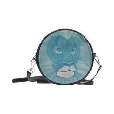 Turquoise Lion Round Messenger Bag (Model 1647)