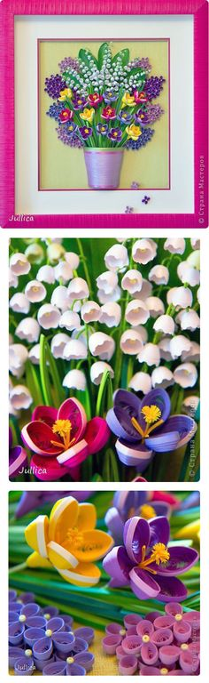 """""""Crocuses, Lilies, and Lilacs"""" - quilling by Jullica"""