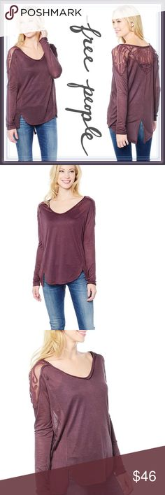 Free People Gatsby Long Sleeve Embroidered Top ➖BRAND: Free People ➖SIZES: Small ➖STYLE: A Burgundy Top with a unique split in the back at the bottom. The top also has mesh inserts that add to the unique and beauty of this top Free People Tops Blouses