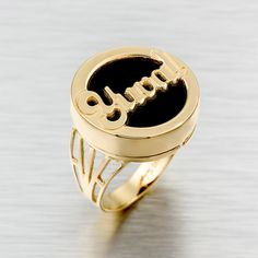 Custom Made Name 24k Gold Plated Personalized Ring With Black Background, Band…