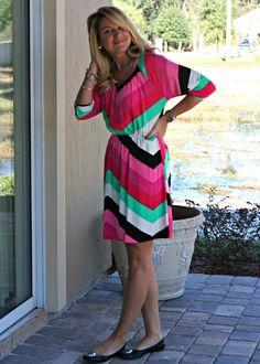 Chevron Work Dress - Pink