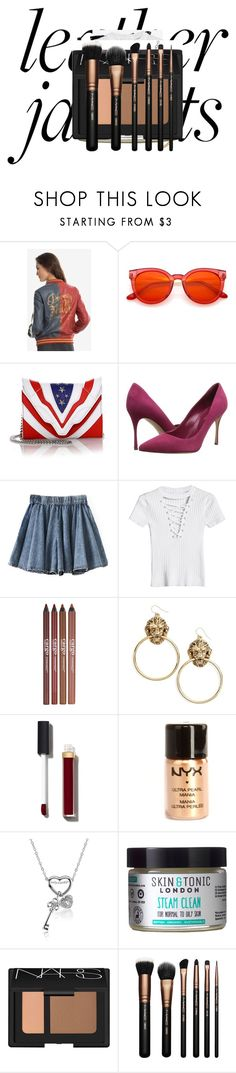 """Awesome jacket leather"" by knmaem on Polyvore featuring DC Comics, Elena Ghisellini, Sergio Rossi, CARGO, Vanessa Mooney, Chanel, NYX, Skin & Tonic, NARS Cosmetics and MAC Cosmetics"