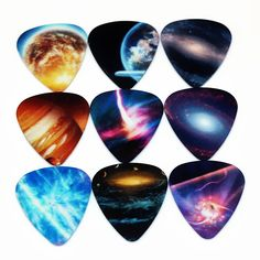 SOACH 10pcs 0.71mm Universe Planet two side earrings pick DIY design Guitar Accessories  pick guitar picks