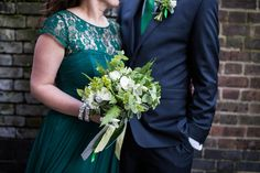 A green wedding dress from Coast, for this quirky modern London wedding, Images by Olliver Photography.