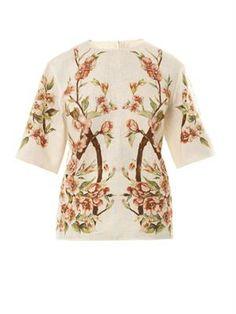 Dolce & Gabbana Wild rose-print linen blouse MATCHESFASHION.COM #MATCHESFASHION