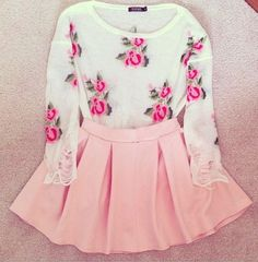 Floral Sweater, Pink Skirt, and a little bit of lace.... what more could a girl ask for?? Vintage Fashion:: Retro Style