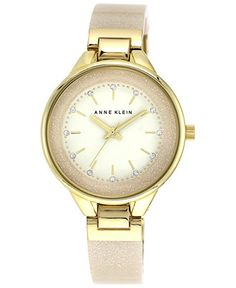 Anne Klein Women's Cream Glitter Bangle Bracelet Watch 36mm AK/1408CRCR - Women's Watches - Jewelry & Watches - Macy's