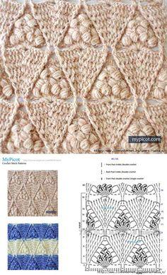 ТЕКСТУРНЫЙ УЗОР КРЮЧКОМ ОТ Mypicot Picot Crochet, Crochet Cluster Stitch, Crochet Stitches Chart, Crochet Cable, Knitting Stiches, Crochet Diagram, Crochet Patterns Amigurumi, Crochet Blanket Patterns, Crochet Motif