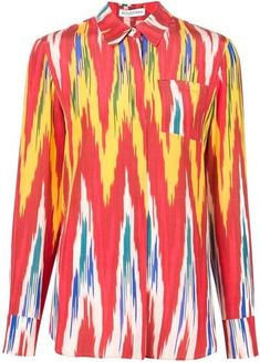 Silk button down blouse from Altuzarra is a bold take on the classic button down. Features a classic collar, chest patch pocket, and long sleeves. Multicolor ikat print throughout, hits at hip. Printed Blouse, Printed Shirts, Ikat Print, Tribal Fashion, Red Blouses, Long Sleeve Tops, Tribal Style, Clothes, Women