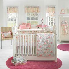 Baby room set white pink round carpet short curtains