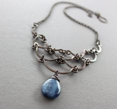Egyptian cascade copper statement necklace with scallop arched and kyanite briolette stone - Kyanite necklace - Boho necklace - Trendy Necklaces, Metal Necklaces, Beautiful Necklaces, Rustic Jewelry, Metal Jewelry, Pendant Jewelry, Jewelry Findings, Handmade Jewelry, Bold Necklace