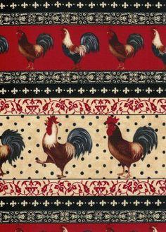 M2813 Tecido Importado Farm Roosters -