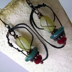 rustic hoopassemblagedanglestone greenredlime by anvilartifacts