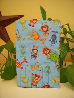 Kids' Notebook and Colored Pencil Holder with Robots  Crafted by KatieB