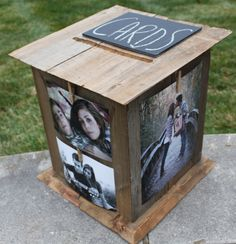 Wedding Card Box Idea: Love the clothespin because you can change out photos in the future when you display at home!