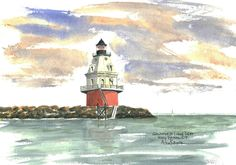 Southwest Ledge, New Haven Watercolor prints and note cards of over 250 lighthouses all over the USA.  Start your collection today. Original paintings by sailor/artist  Alfred La Banca, Darien, CT