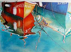 Colored pencil art of a red boat and reflection - amazing work! Colored Pencil Artwork, Color Pencil Art, Colored Pencils, Chalk Art, Artist At Work, Fine Art America, Summertime, David, Drawings