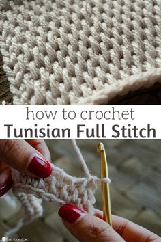 The Tunisian Full Stitch is such a beautiful stitch to use for crochet blankets, cowls, and scarves. Let's learn how to crochet this fun stitch! The Tunisian Full Stitch is such a beautiful stitch to use for crochet blankets, cowls, and scarves. Crochet Stitches For Blankets, Tunisian Crochet Patterns, Tunisian Crochet Stitches, Crochet Patterns For Scarves, Different Crochet Stitches, Crochet Throws, Crochet Edgings, Crochet Afghans, Loom Patterns