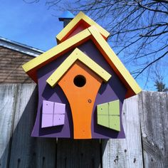 Crazy Birdhouse 1 adds modern color & design to by DBWoodcraftshop