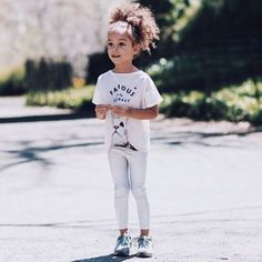 Basic kid essentials: leggings, graphic tees and a pair of 574's
