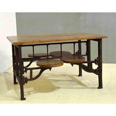 Als je indruk wil maken in je woning, dan komt dat zeker goed met deze Cantin Table. Deze industriele tafel met mooi houten tafelblad en metalen onderstel is voorzien van 4 draaibare zitplaatsen. Dit is toch fantastisch. Super leuk voor de kinderen maar ook fantastisch als heerlijke dinertafel of borreltafel.