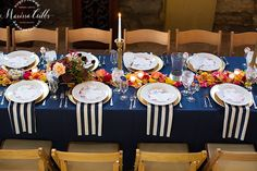 KC Wedding Ceremony and Reception | Cellar 222 | Navy and White Striped Napkins | Floral table setting | Gold Accents | Wedding Reception | Marissa Cribbs Photography