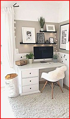 Small Room Bedroom, Room Ideas Bedroom, Home Decor Bedroom, Living Room Decor, Small Rooms, Small Spaces, Office In Bedroom Ideas, At Home Office Ideas, Desk In Bedroom